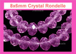 """8x6mm Pink Crystal Faceted Rondelle Beads Approx.17"""""""