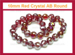10mm Red Crystal AB Faceted Round Beads Approx.14""