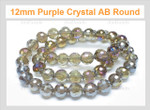12mm Amethyst Crystal AB Faceted Round Beads Approx.22""