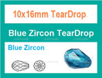 10x16mm Blue Zircon Crystal AB Faceted Teardrop Beads Approx.16""