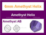6mm Amethyst Crystal AB Faceted Helix Beads Approx.22""