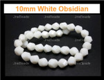 10mm White Obsidian Twisted Beads 15.5""