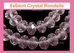 """8x6mm Amethyst Crystal Faceted Rondelle Beads Approx.16"""""""