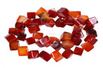10x10mm Red Agate Dice Beads 15.5""