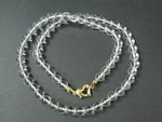 """6mm A Grade Crystal Round Beads Necklace 18"""" 14K G.P. Clasp"""