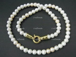 "7mm Freshwater Pearl Necklace 18"" Pink Pearl 18k G.P.Clasp"
