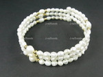 p1034 4mm Freshwater Pearl Bracelet Memory Wire (Free Size)