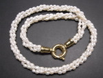 "4mm 3-Row Pearl Necklace 18"" + 18K G.P.Clasp, Best Lustre"