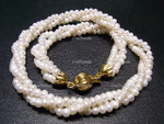 "4mm 3-Row Pearl Necklace 18"", Best Lustre"