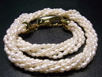 "4mm 6-Row Pearl Necklace 18"" With 18K G.P.Clasp, Best Lustre"