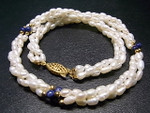 "4mm 3-Row Pearl Necklace 18"" With Natural Lapis Lazuli Bead, Best Lustre"