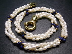 "4mm 3-Row Pearl Necklace 17"" With Dyed Lapis & 18K G.P.Clasp, Best Lustre"