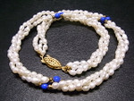 "4-5mm Freshwater Pearl Necklace 18"" Lapis"