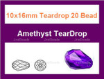 10x16mm Amethyst Crystal Ab Teardrop 20 Beads