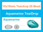 10x16mm Aquamarine Crystal Ab Teardrop 20 Beads