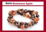 """4mm Botswana Agate Round Beads 15.5"""""""