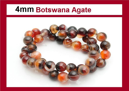 4mm Botswana Agate Round Beads 15.5""