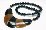 110x42mm Buffalo & Amber Horn Onyx Beads Necklace 18""