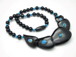 "110x28mm Buffalo Horn Necklace 18"" With 14k 585 Gold & Turquoise"