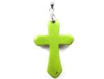 28x42mm Green Turquoise Cross Pendant Beads With Bail