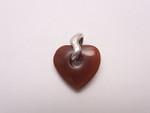 925 Sterling Silver 18mm Carnelian Heart Donut Pendant