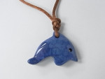 """30mm (14mm Thick) Lapis Howlite Jump Dolphin With Cord Necklace 36"""""""