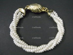 """[knp] 4-5mm 3-Row Freshwater Pearl Bracelet 7.5"""" 18K G.P.Clasp"""