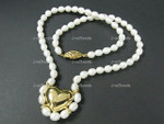 "5-6mm Freshwater Pearl Necklace 18"" With 18K Gold Plated Pendant  [e933]"