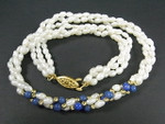 "4-5mm 3-Row Pearl Necklace 18"" + Dyed Lapis"
