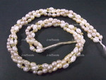 "[e1003] 4-5mm 3-Row Freshwater Pearl 12"", Total 36"""