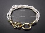 """[kvi] 4-5mm 3-Row Freshwater Pearl Bracelet 7.5"""" 18Kg.P. Clasp"""