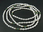 """4-5mm Freshwater Pearl + Aventurine Endless Necklace 32"""""""