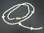 "4-5mm Freshwater Pearl Necklace 18"" + Mop Cross"