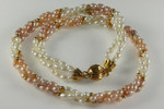 "4mm 3-Row Pearl White & Peach Pearl Necklace 18"", Best Lustre"