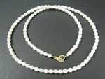 "3mm Freshwater Pearl Necklace 17"" 14K 585 Gold Clasp"