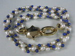 "4-5mm 3-Row Pearl Necklace 18"" + Lapis 18K G.P.Clasp  [e624]"
