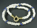 "4-5mm 3-Row Freshwater Pearl Necklace 18"" 18K G.P.Clasp & Lapis Howlite"