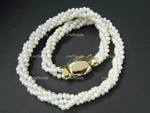 "4-5mm 3-Row Freshwater Pearl Necklace 18"" 18K G.P. Clasp  [e1487]"