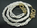"4-5mm 3-Row Freshwater Pearl Necklace 18"" & Bracelet 7.5"" 18K G.P.Clasp [e931]"