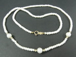 "3mm Freshwater Pearl Necklace 17"" 14K 585 Gold Clasp & 6pcs.14K Beads"