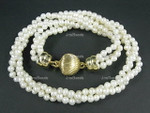 "[kfx] 5-6mm 3-Row Pearl Necklace 18"", 18K G.P.Clasp"