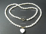 "[krj] 4-5mm Freshwater Pearl Necklace 17"" 14K 585 Gold Clasp & Heart"