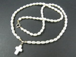 "4-5mm Freshwater Pearl Necklace 17"" 14K 585 Gold Clasp & Cross"