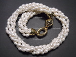 """[jrw] 5-6mm 5-Row Pearl Necklace 18"""", 18K G.P.Clasp"""
