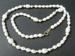 "4-5mm Freshwater Pearl Necklace 17"" 14K 585 Gold Clasp & 14pcs.14K Beads"