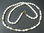 "4-5mm Freshwater Pearl Necklace 17"" 14K 585 Gold Clasp & 16pcs.14K Beads"