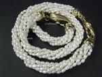 "4-5mm 6-Row Pearl Necklace 18"" & Bracelet 7.5"", 18k G.P.Clasp"