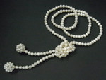 "5-6mm Freshwater Pearl Necklace 36"" 2 16mm Pearl Ball & 14K 585 Gold Beads"