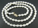 "4-5mm Freshwater Pearl Necklace 22"" 14K 585 Gold Clasp"