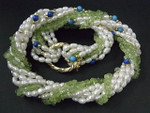 """4mm 8-Row Freshwater Pearl, Peridot, Lapis & Turquoise Necklace 18"""""""